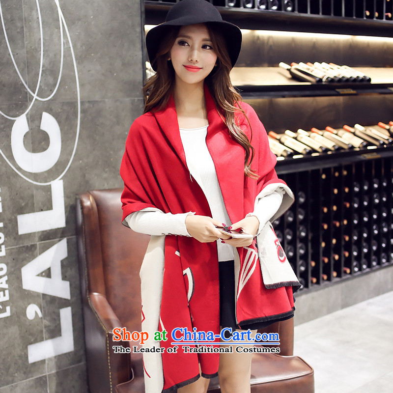 The girl of autumn and winter wind emulation cashmere large national shawl scarves with two shawls Lijiang duplex mantle9081 Dance Angel - Red + M