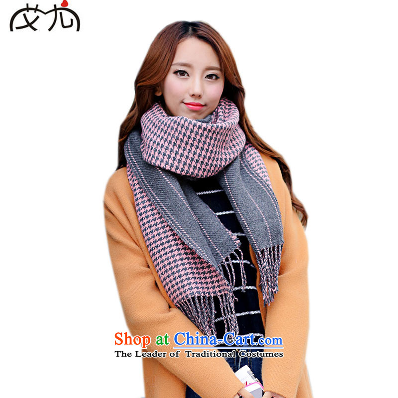 Couples of universal classic chidori. Double-sided wooler scarf female shawl dual-use of autumn and winter thick long gray powder
