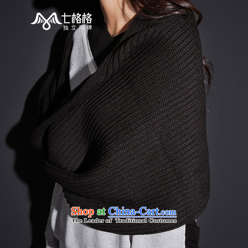 7 2015 New winter Princess Returning Pearl Solid Color thick wool wild kit Tau Wai Shing Black Scarf