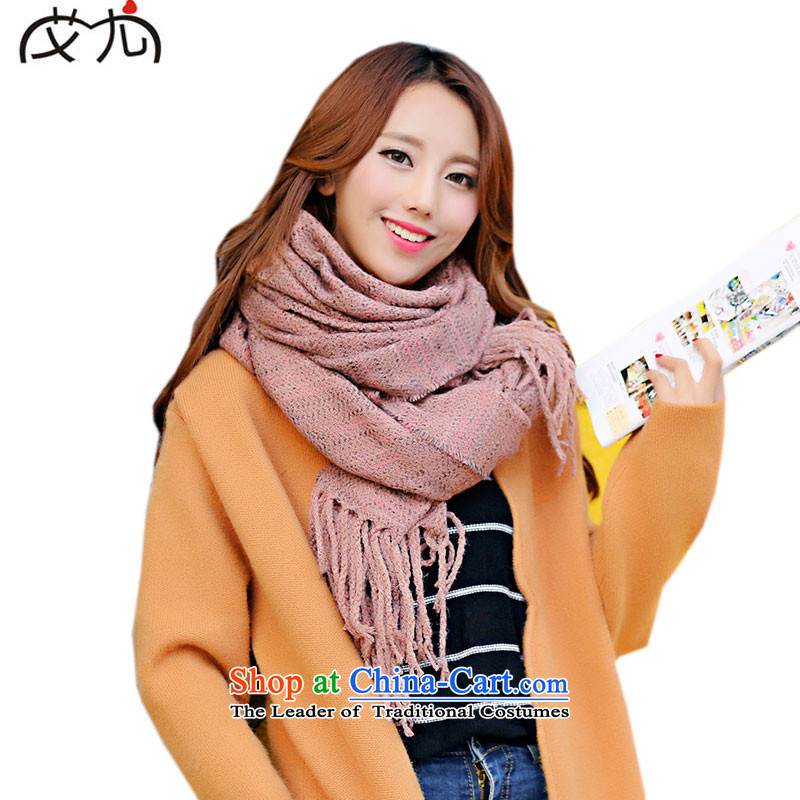 The Korean new edging solid color emulation cashmere shawls long dual-use wild female scarf of autumn and winter scarf large warm pink