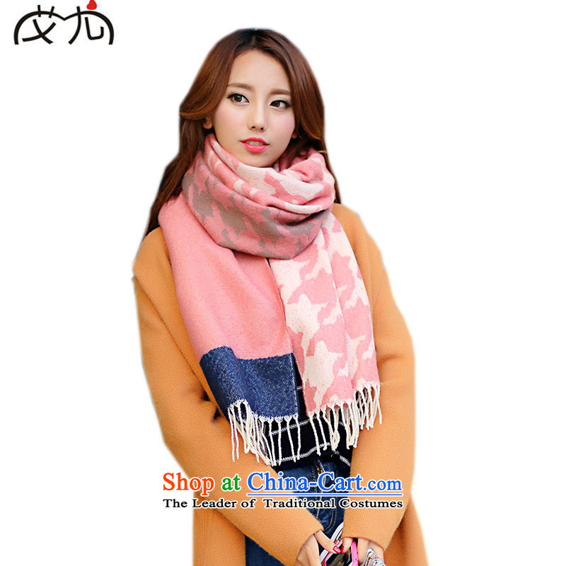 The Korean spelling color chidori grid emulation /pashmina shawl edging the scarf, President of autumn and winter thick wool scarf warm pink