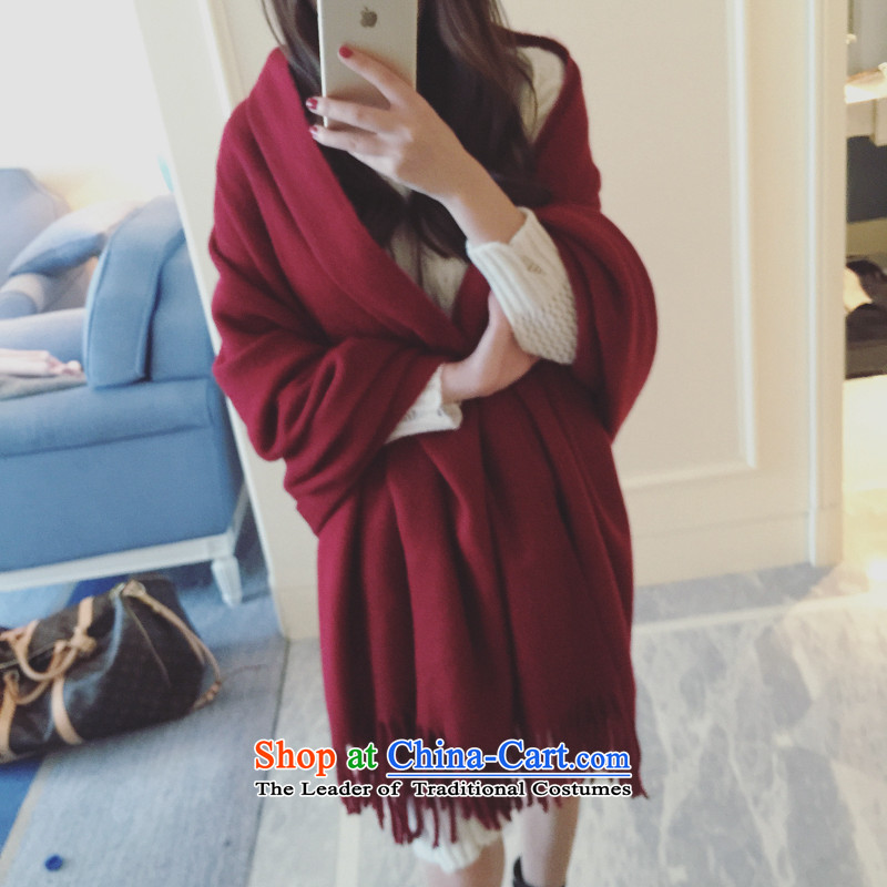 Europe and the autumn and winter emulation cashmere shawls large edging Solid Color Thick Long scarf female warm with a9082 two wine red large shawl
