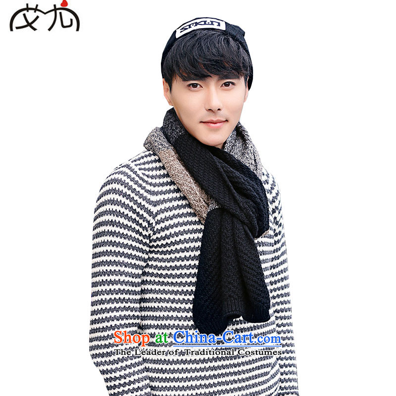 Korea knit Stylish colors to warm the spell checker couples scarf of autumn and winter edging wild long couples warm shawl Black Gray