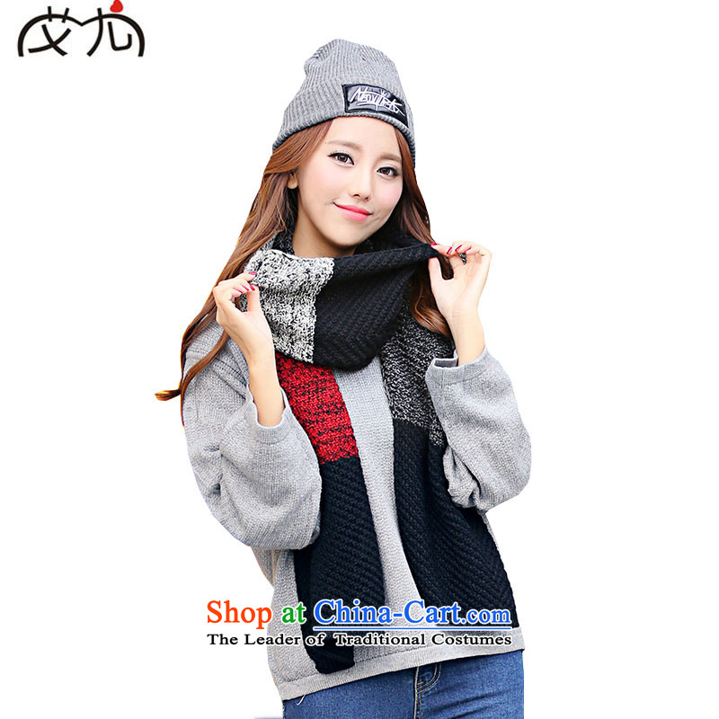 Korea knit Stylish colors to warm the spell checker couples scarf of autumn and winter edging wild long couples warm Black and Red Shawl