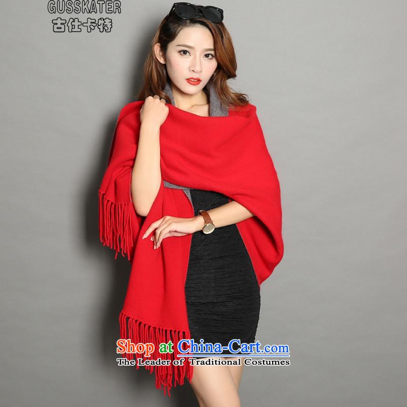 Mrs Rafael Hui Carter2015 autumn and winter new cloak female jackets mink coats shawls woolen sweater stylish warranty su wild shawl warm red are code
