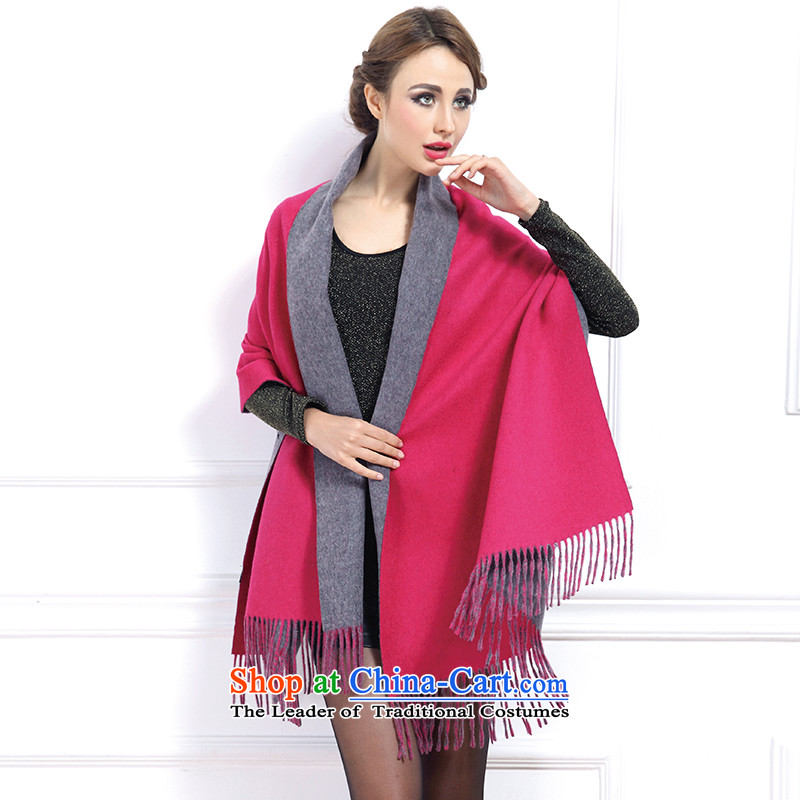 Sleek and versatile! Shirley Kwan Autumn and Winter Olympic Solid Pure Cashmere scarf 300 rings-Ms. shawl a woman and two men with universal) 17 in red YGR65-5