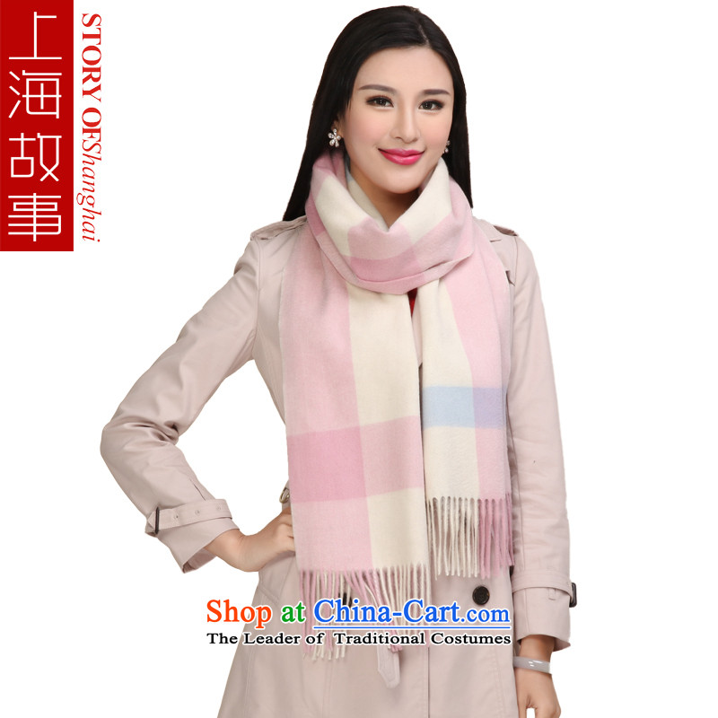 Shanghai Story warranty year woolen shawl, a checkered white scarf of couples