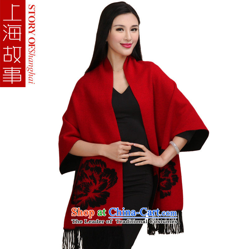 Shanghai Story stingrays lint-free jacquard thick fur, autumn and winter large black and red shawl Peony