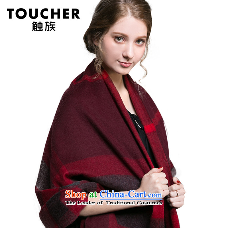 Ms. winter spring and autumn pashmina shawl female oversized warm thick latticed Fancy Scarf by one hundred and two red