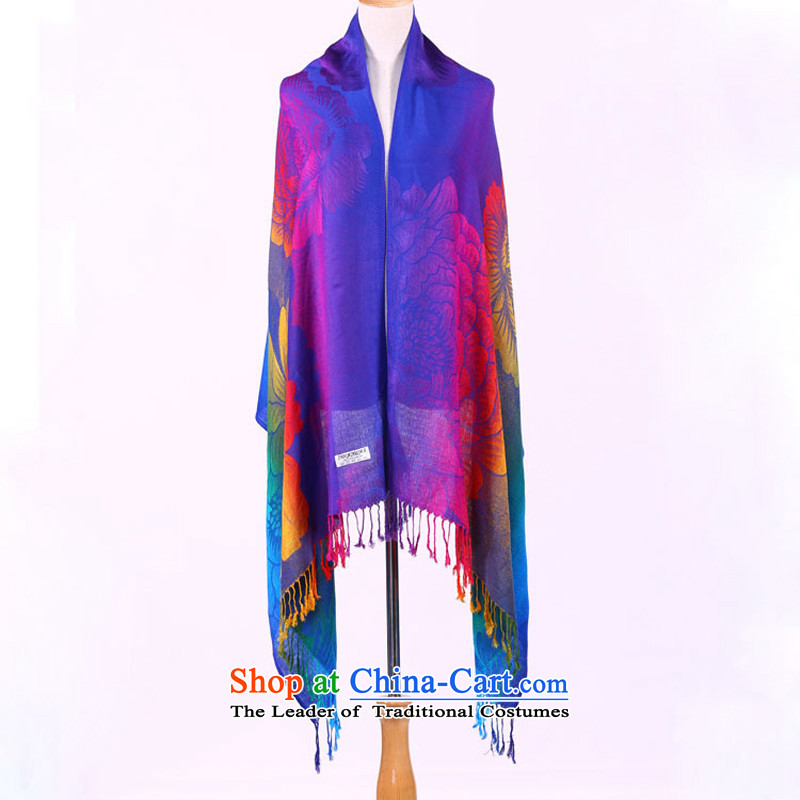 The new seven-color TAOYEE ethnic cotton linen silk scarf arts van extra large beach towel shawl women Royal Blue