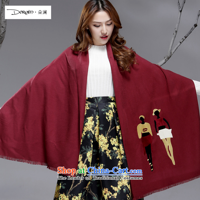 Flower World Boutique Emulation Cashmere scarf shawl 2015 Korean women with two thick long winter duplex students wild wine red