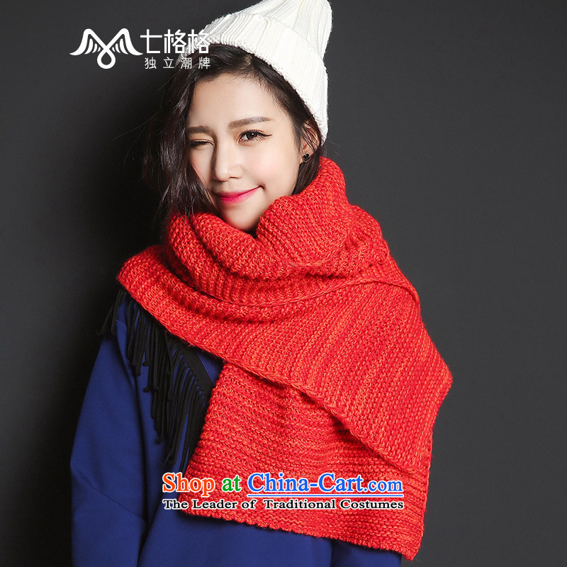_Non-dual- 7 December 2015 new winter Princess Returning Pearl wild orange thick Knitting scarves knitted warm long female orange
