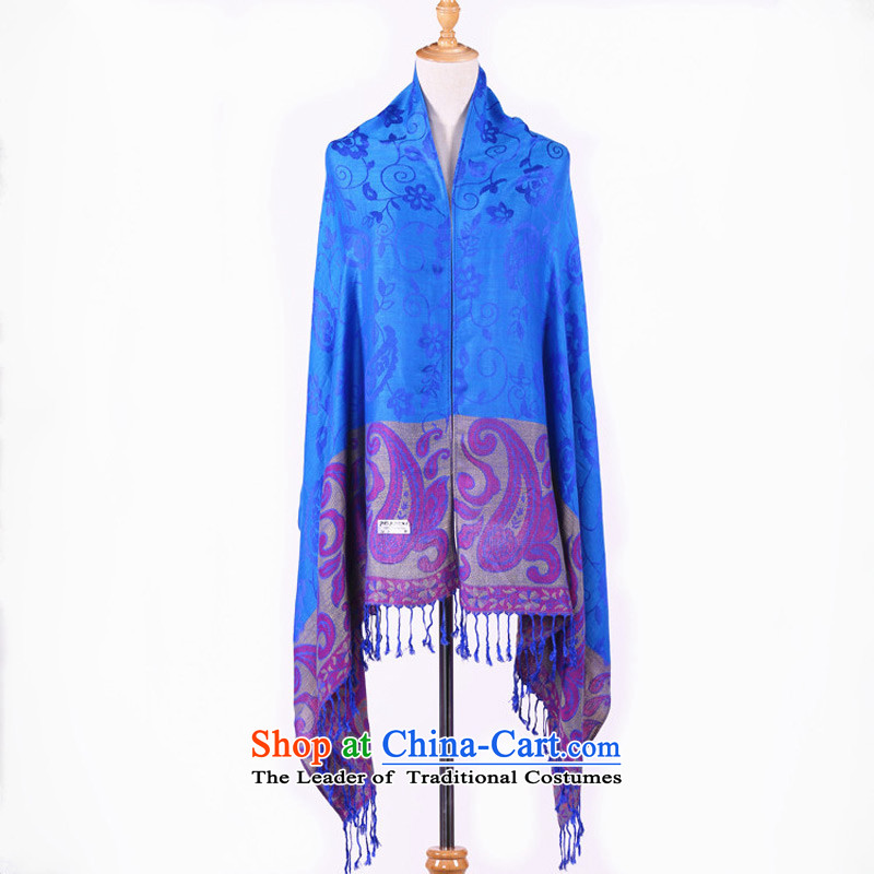 The end of the scarf of ethnic TAOYEE,Lijiang,Yunnan ethnic shawl female tourist autumn and winter new pure color with scarves wild blue ,TAOYEE,,, shopping on the Internet