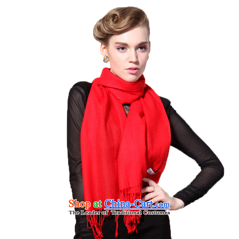Hengyuan Cheung fleece solid red in color red white scarf gifts long Ms. (Boxset )314 Red