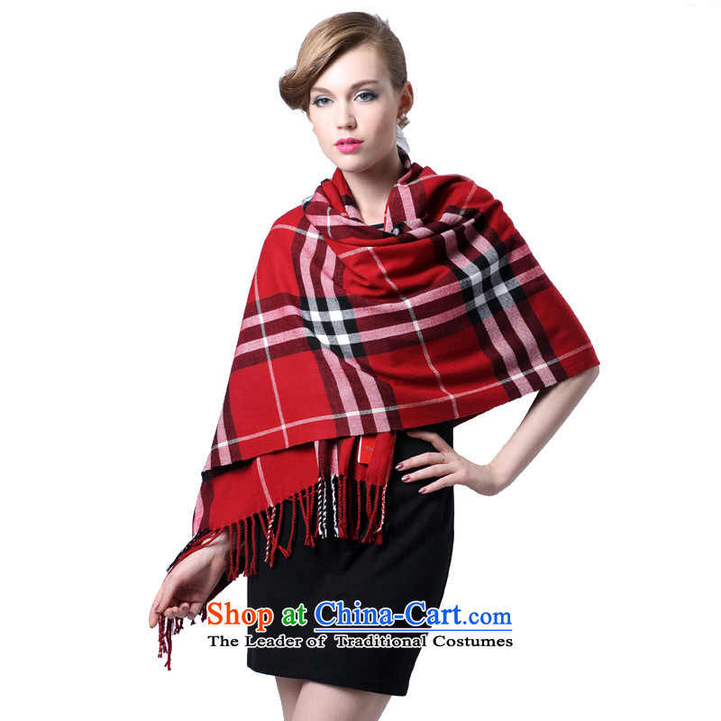 Hengyuan Cheung cashmere quality warm lint-free gifts women cape thick (Boxset) Red