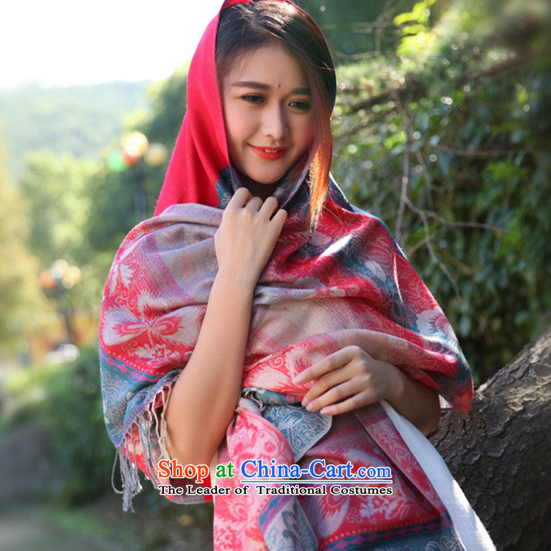 Taoyee  autumn and winter of ethnic cultural Ms. shawl youth shawl scarf two red
