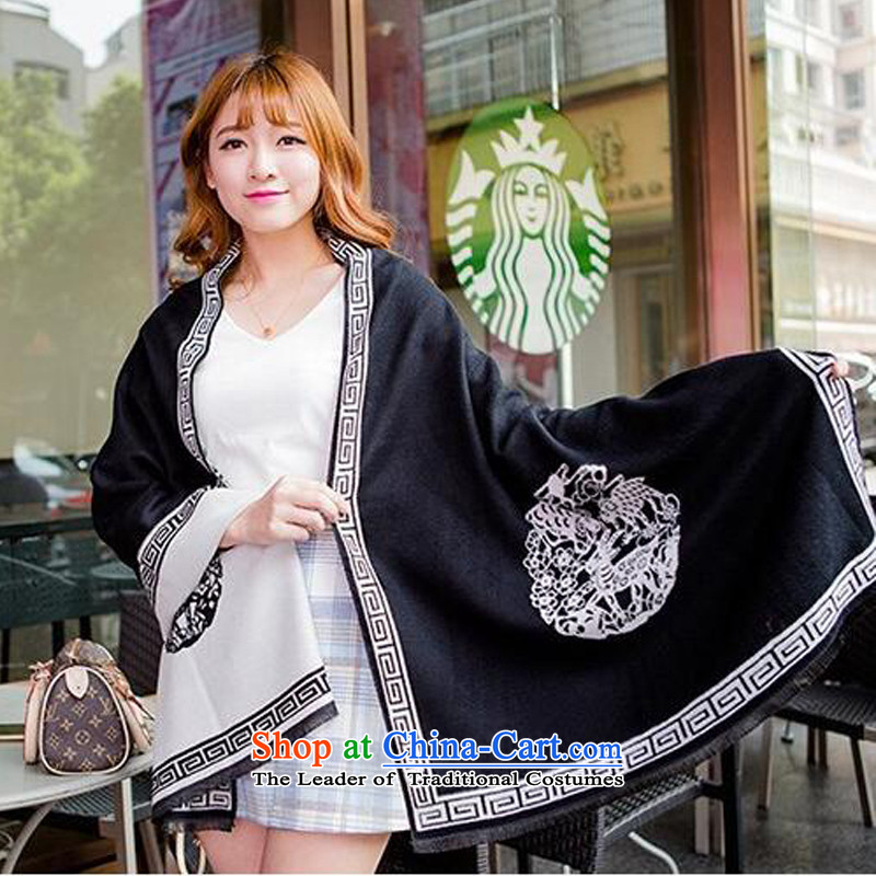 Woven Soo-emulation cashmere woolen cravat, pull thick warm shawl three yang Ms. stamp scarf NW089190*65cm around black and white