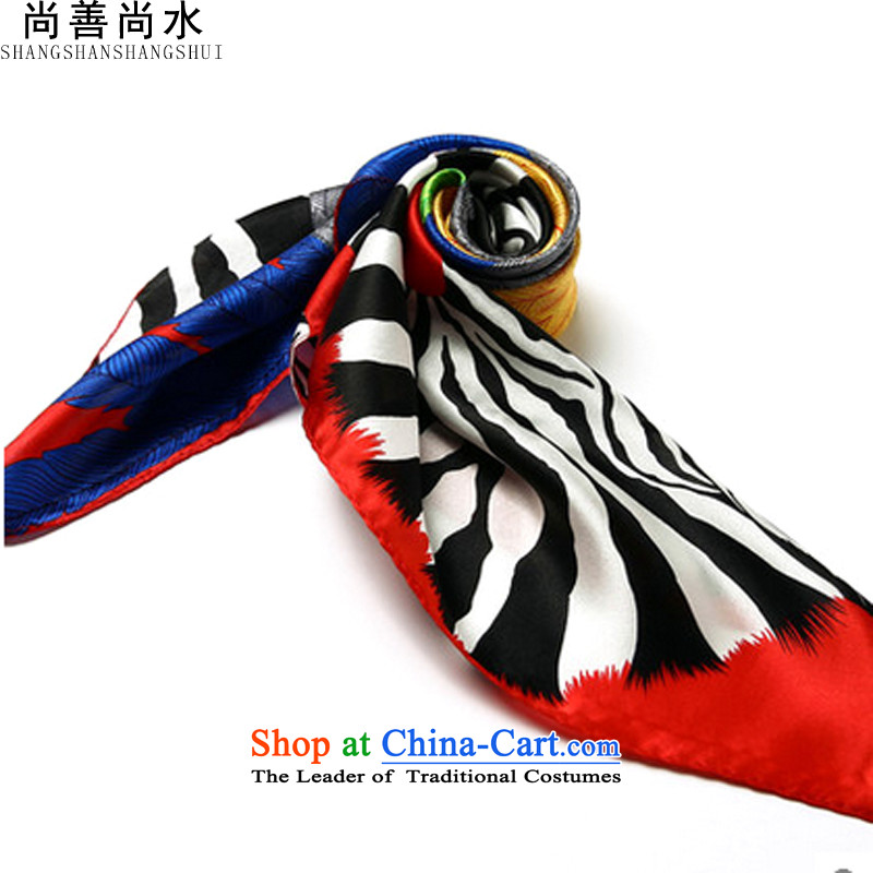 Yet there is good water silk small towel herbs extract female small stylish European and American Professional Scarves OL children handkerchief towel business air hostesses silk gift heavyweight red silk scarf zebra