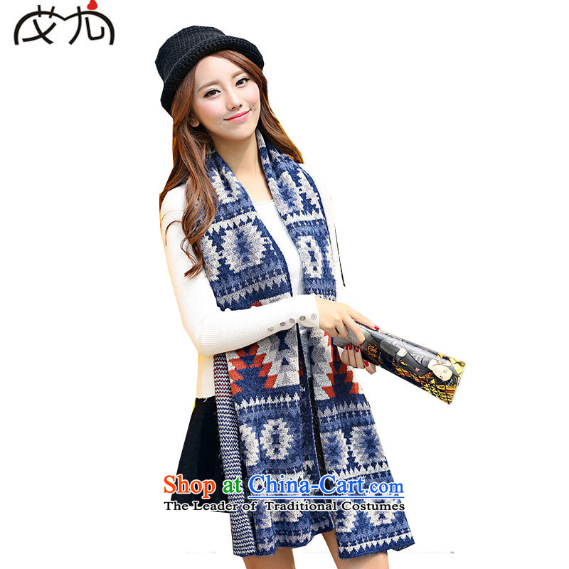 2015 Autumn and winter new ethnic, scarf Bohemia knitting, knitting thick a navy blue