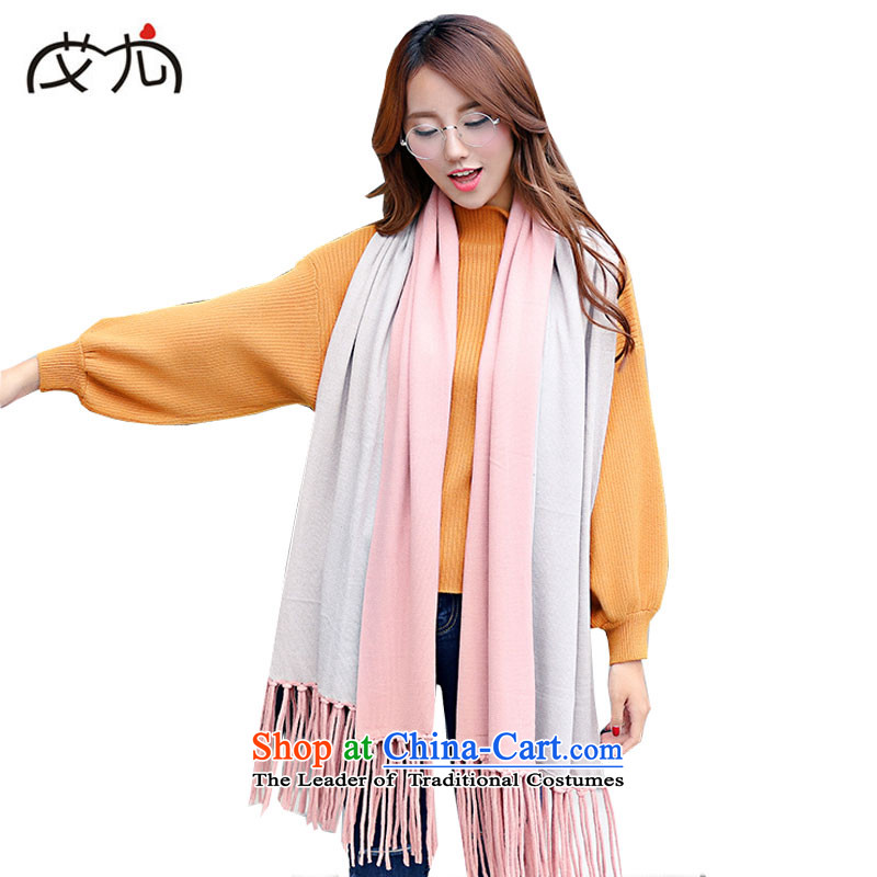 Winter pashmina spell color emulation duplex streams so warm thick with two large shawl scarf female light pink Gray