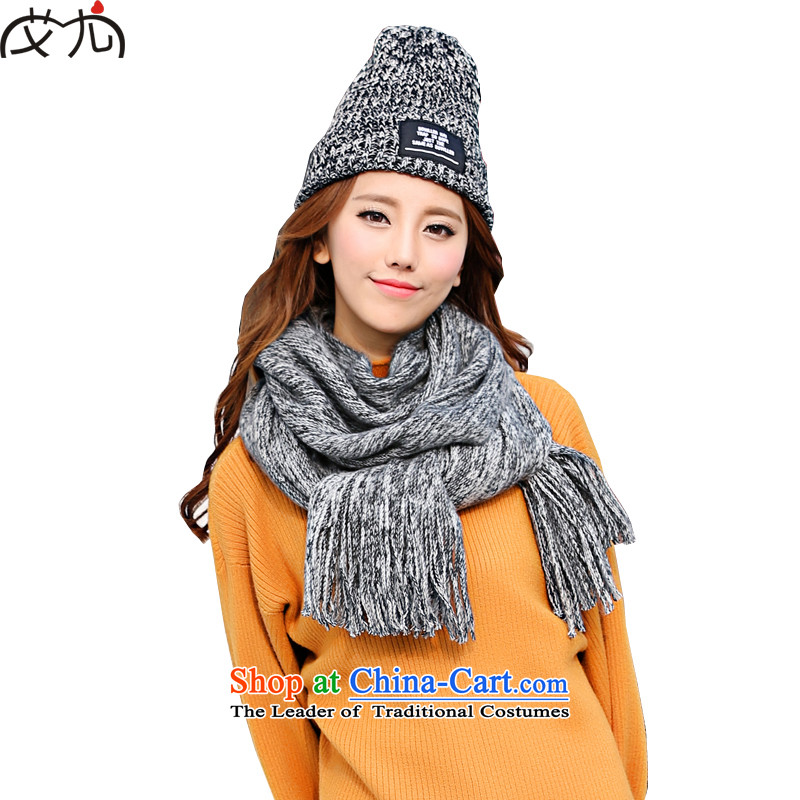 2015 Korean autumn and winter thick color mixer Knitting scarves wild Knitting scarves warm female students couples a black