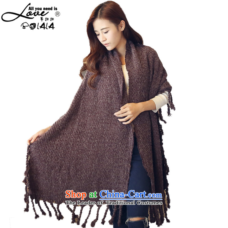 8Pull new Korean version of 2015 Fancy Scarf Cardigan jacket girl of autumn and winter cloak cardigan scarf thick two flow Su Knitted Shirt, long braids shawl, Su Bourdeaux are code