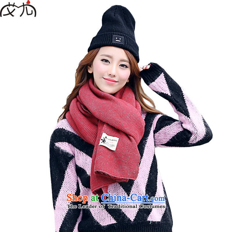 In particular, the Korean version of the scarf of wild thick Warm Korean a pure color Knitting scarves knitted cardigans use of two red
