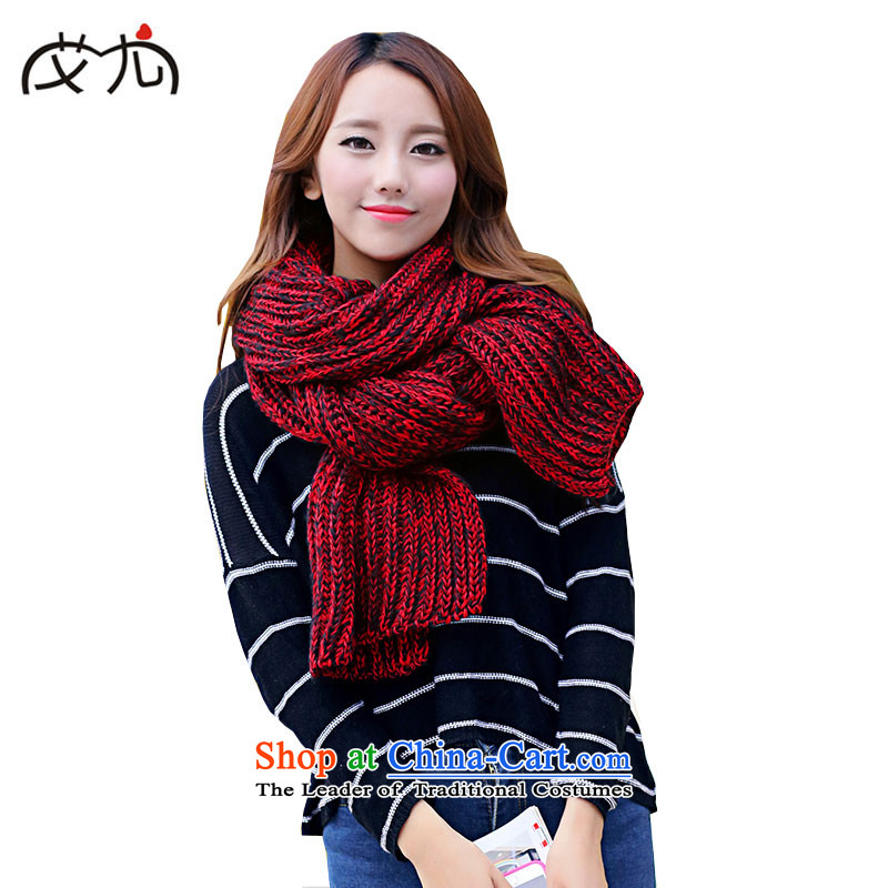 The end of the scarf female Korean wireless scurf autumn and winter new mohair a solid color Thick Long Knitting scarves shawl Male Red