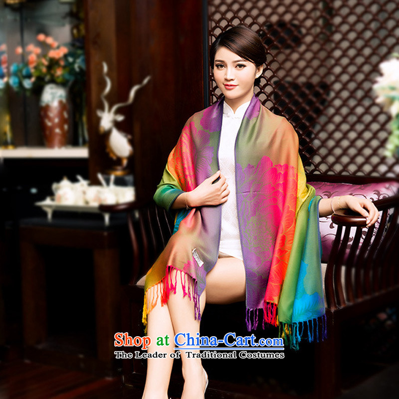 The new winter TAOYEE peony flowers to Seven Colored ethnic cotton linen silk scarf scarf arts oversized van beach towel air-conditioning shawl Korean Army Green
