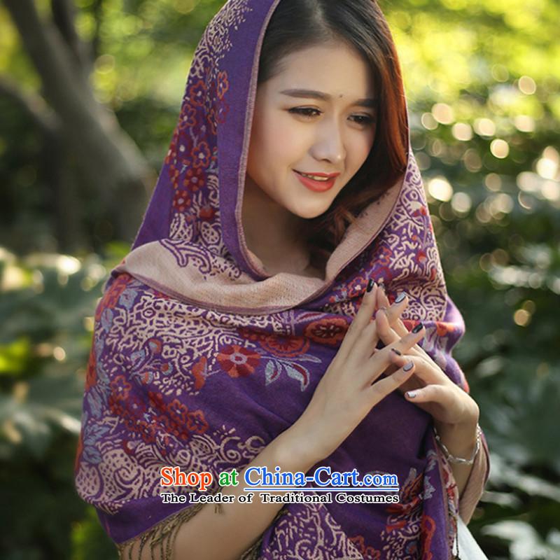 聽Stylish new scarves TAOYEE winter oversized shawl female arts warm Fancy Scarf two in Purple