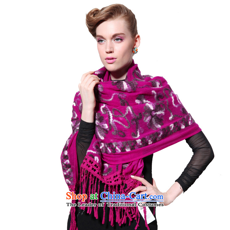 Hang Cheung wool disc source Ms. long shawl embroidered air-conditioning shawl (Boxset) rose red