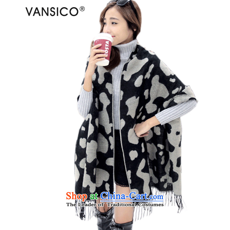 Vansico new emulation cashmere sweater of autumn and winter knitted cardigans two with women thick scarf edging dairy cows W8081 Leopard 2-sided Matte Canvas