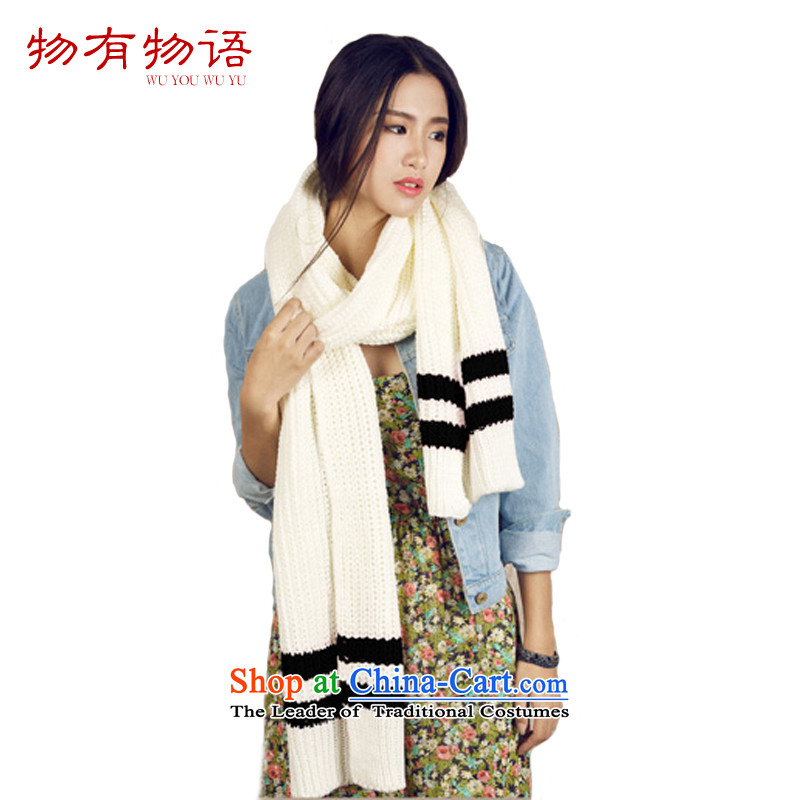With the end of the scarf Monogatari female2015 autumn and winter Korean president Knitting scarves long thick large scarf leisure a white black stripe