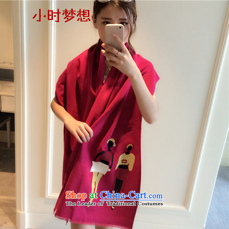 The end of the scarf girl in spring and autumn dreams of hours of thoughtful spend the winter cashmere shawls large scarf4313Lijiang wool double-sided mantle Thick Long 8044N in red