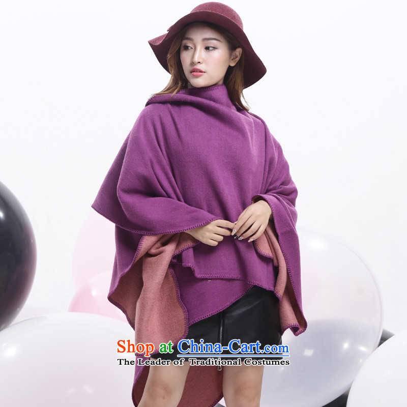 Pure color large flower world shawl scarves with stylish European and American autumn two warm winter of the forklift truck wild shawl emulation cashmere Purple