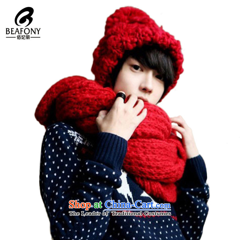 Bai Fei Li Knitting scarves couples New Oversized thickened men and women long autumn and winter warm WJM002 a pure color red see commodity Properties