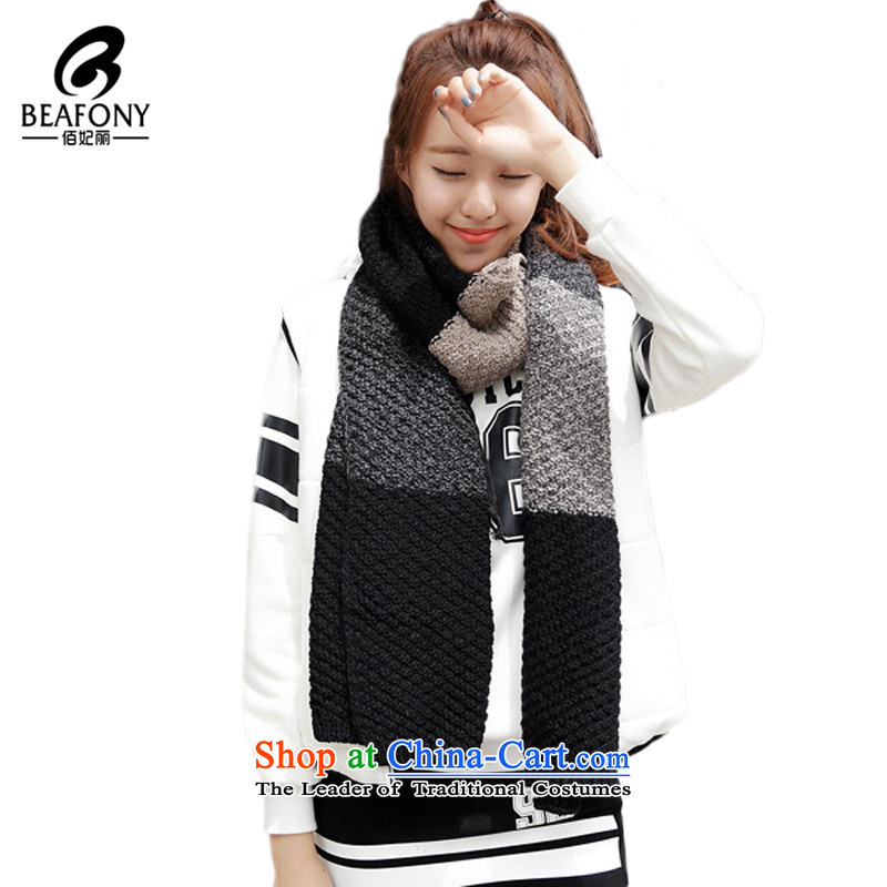 Bai Fei Li dongqiu Korean male spell color knitting warm a new Knitting scarvesWJM005 couples thickblack and gray see commodity Properties