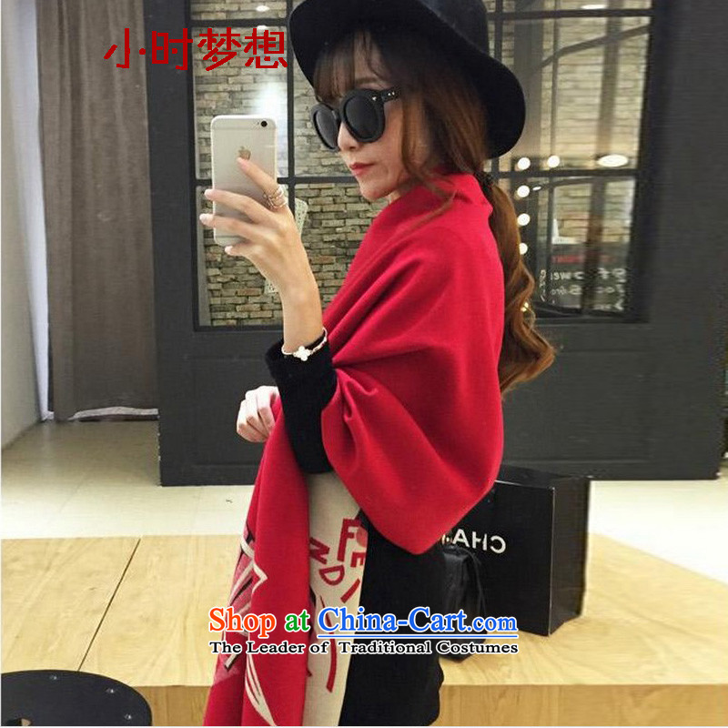 The end of the scarf girl in spring and autumn dreams hours winter wind cashmere shawls big nation with scarves Lijiang wool double-sided mantle Thick Long 8049N red plus beige