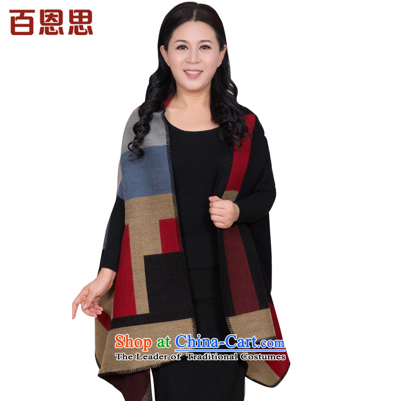 In the autumn of older women cape warm winter wind large scarf and classy towel opening shawl Korean Modern Grid