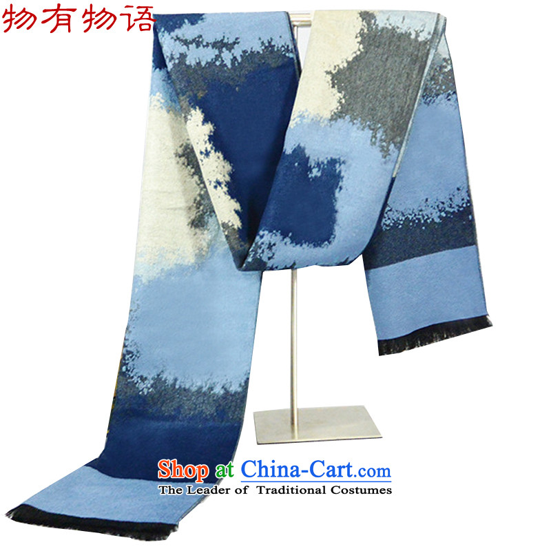 With the end of the scarf Monogatari men fall and winter men new Korean men of couples thick blue scarf 30*180cm brushed