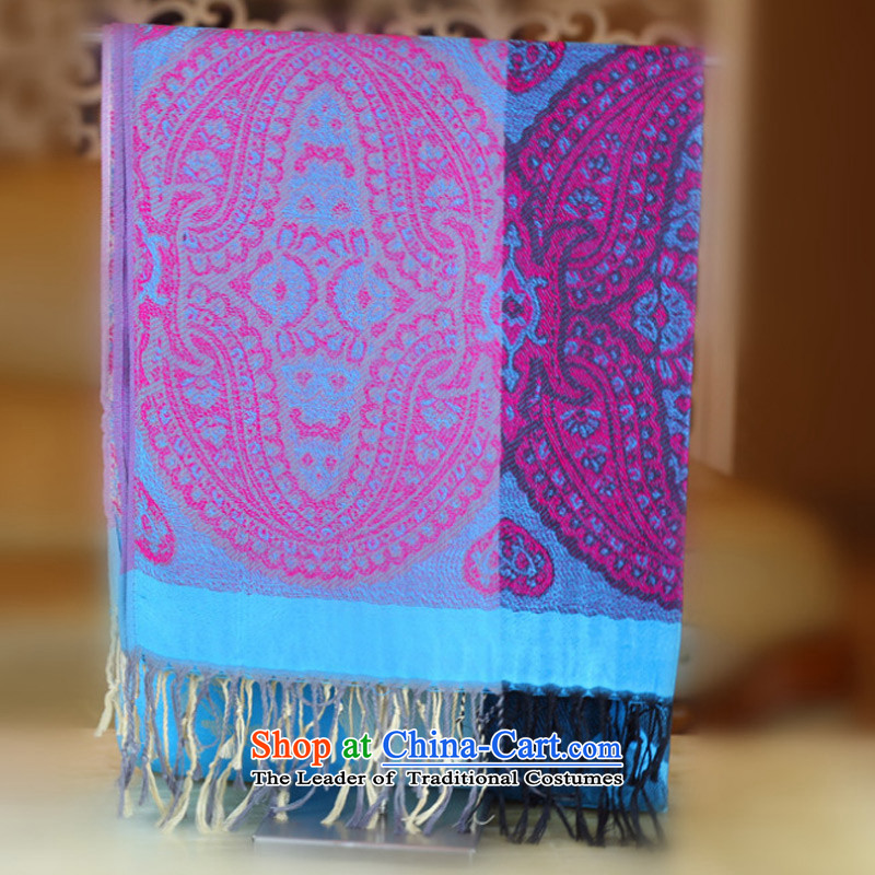 Ms. Sarah TAOYEE jacquard edging cotton linen scarf Lijiang ethnic warm shawl use two Blue Lagoon