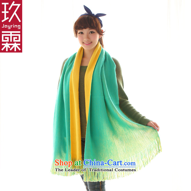 Ko Yo-lin Korean fashion edging single-sided solid color two-color two-sided scarves thick warm emulation Cashmere scarf women of autumn and winter Ms. Gift Yellow Green
