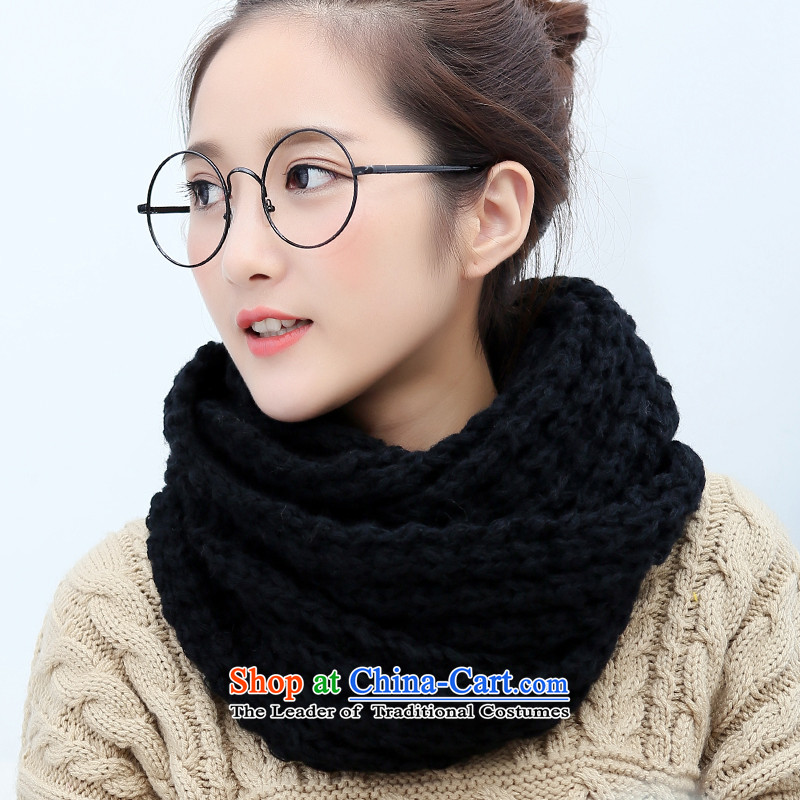 The end of the scarf of autumn and winter female Korean chokeholds thick warm Winter Sweater Knit of students chokeholds Ms. head scarf black