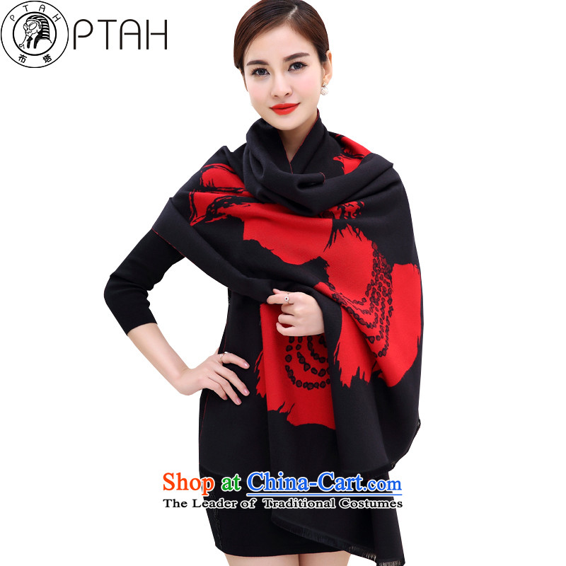 Buta scarf female autumn and winter emulation cashmere shawls large Korean Stamp long thick Fancy Scarf double-sided with a warm black