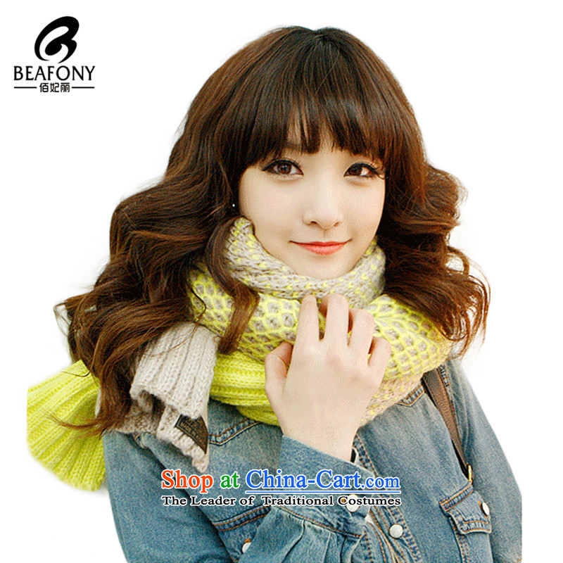 Bai Fei Li winter new toner is a two-color plane of the Songnen spell colors plus long Knitting scarves knittedWJM008 ayellow See commodity Properties