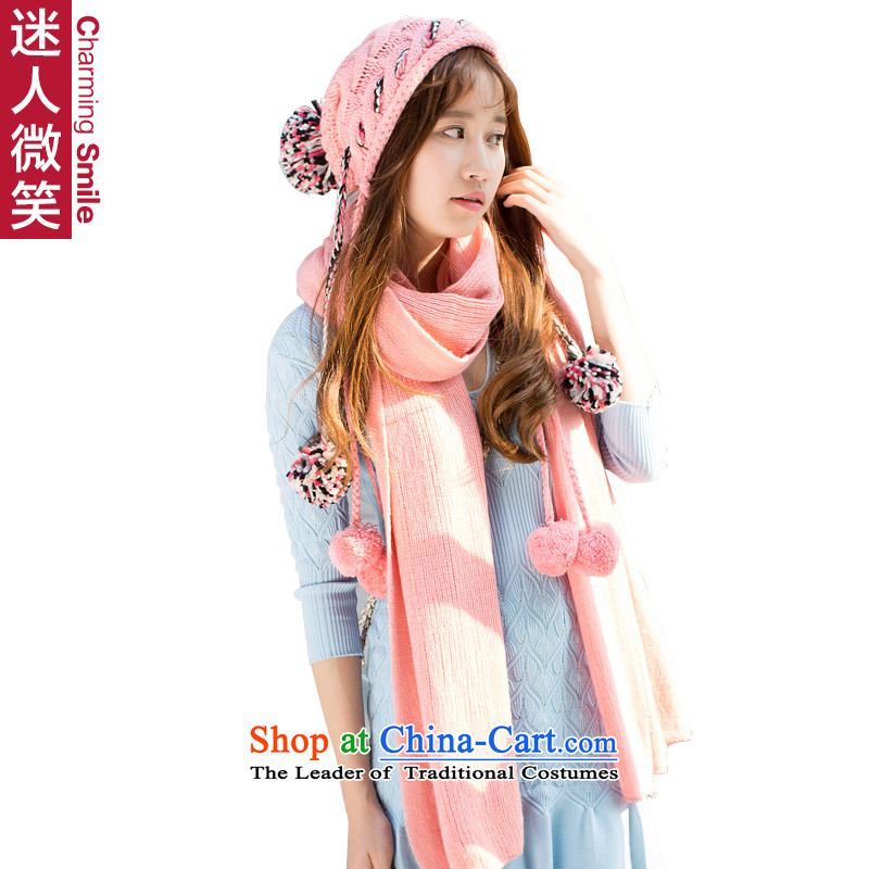 The charming smile, autumn and winter new lovely woven hats gross ball solid color scarf kit two female Pink