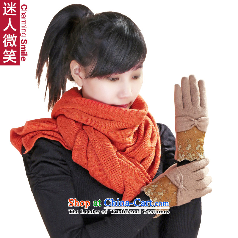 The charming smile Korean outdoor winterizing stylish warm Knitting scarves pure color woolen gloves Ms. Winter Kit two female聽G kit