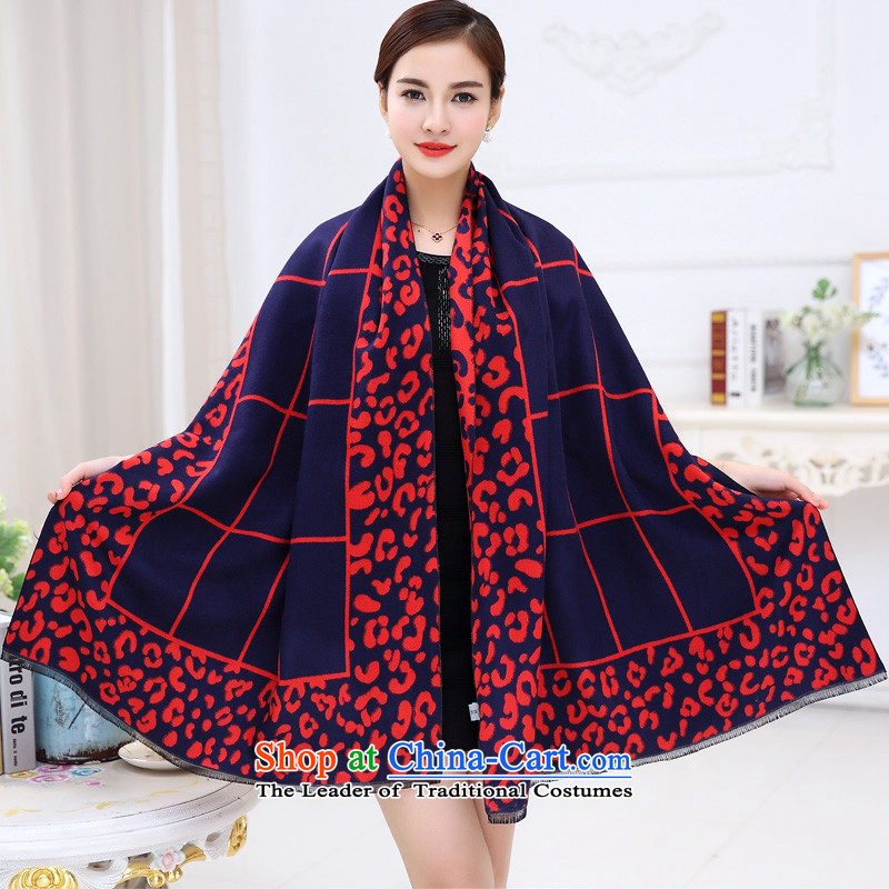 The Korean version of Buta latticed emulation pashmina girl of autumn and winter oversized thick shawl dual-use warm a navy blue