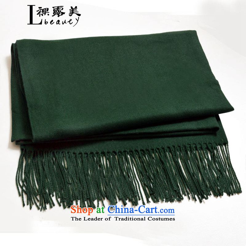 The US and South Korean version of bare solid color during the spring and autumn warm winter Fancy Scarf Two with a lamb wool woolen scarves a women men with dark green