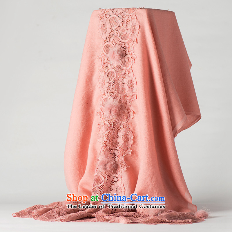 Hengyuan Cheung of autumn and winter long Pure Wool scarves, wild red lace rabbit hair ball Korean version of large rubber red shawl.